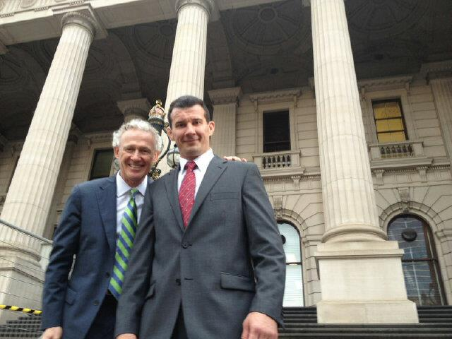 Tom Wright and Anthony Perosh at Victorian Parliament